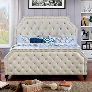 Furniture of America Pele Contemporary Beige Solid Wood Panel Bed