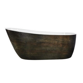 ANZZI Bouie Series 5.68 ft. Freestanding Bathtub in Caiman Skin