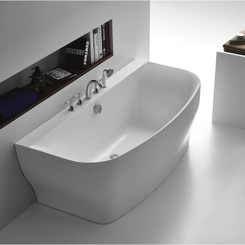 ANZZI Bank Series 5.41 ft. Freestanding Bathtub in White