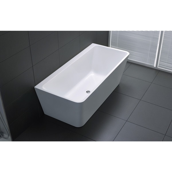 ANZZI Strait Series 5.58 ft. Freestanding Bathtub in White