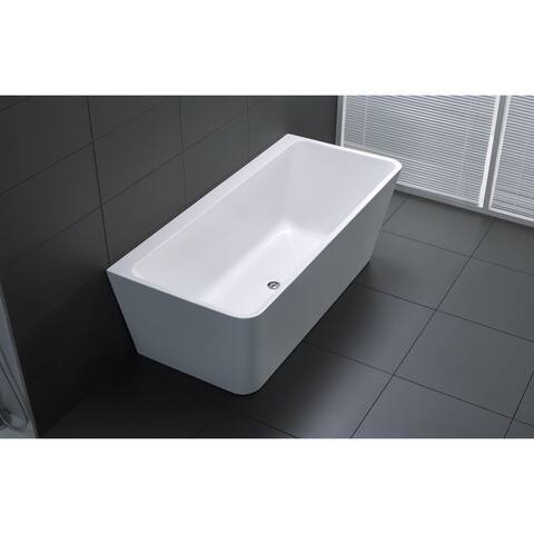 ANZZI Strait Series 5.58 ft. Freestanding Bathtub in White