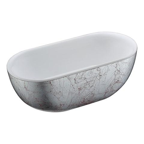 ANZZI Knight Series 6 ft. Freestanding Bathtub in Crimson Snow