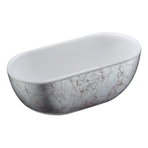 ANZZI Knight Series 6 ft. Freestanding Bathtub in Crimson Snow