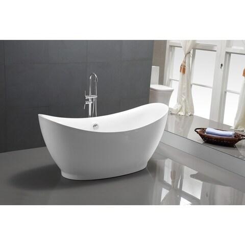 ANZZI Reginald Series 5.67 ft. Freestanding Bathtub in White