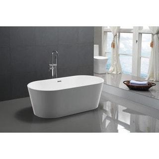 ANZZI Chand Series 5.58 ft. Freestanding Bathtub in White