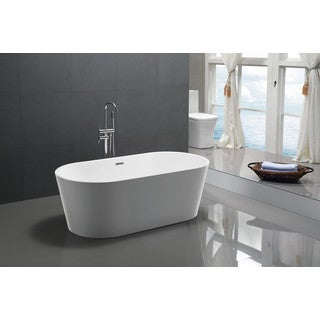 ANZZI Chand Series 5.58 ft. Freestanding Bathtub in White
