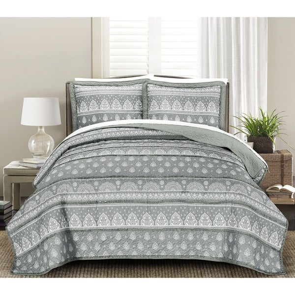Blissful Living Rayna Gray 3 Piece Luxury Ruffle Quilt Set