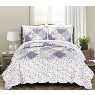 Blissful Living Frances Lilac 3 Piece Luxury Ruffle Quilt Set
