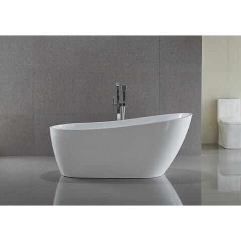 ANZZI Trend Series 5.58 ft. Freestanding Bathtub in White