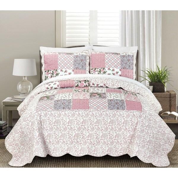 Blissful Living Lyssa Pink 3 Piece Luxury Ruffle Quilt Set