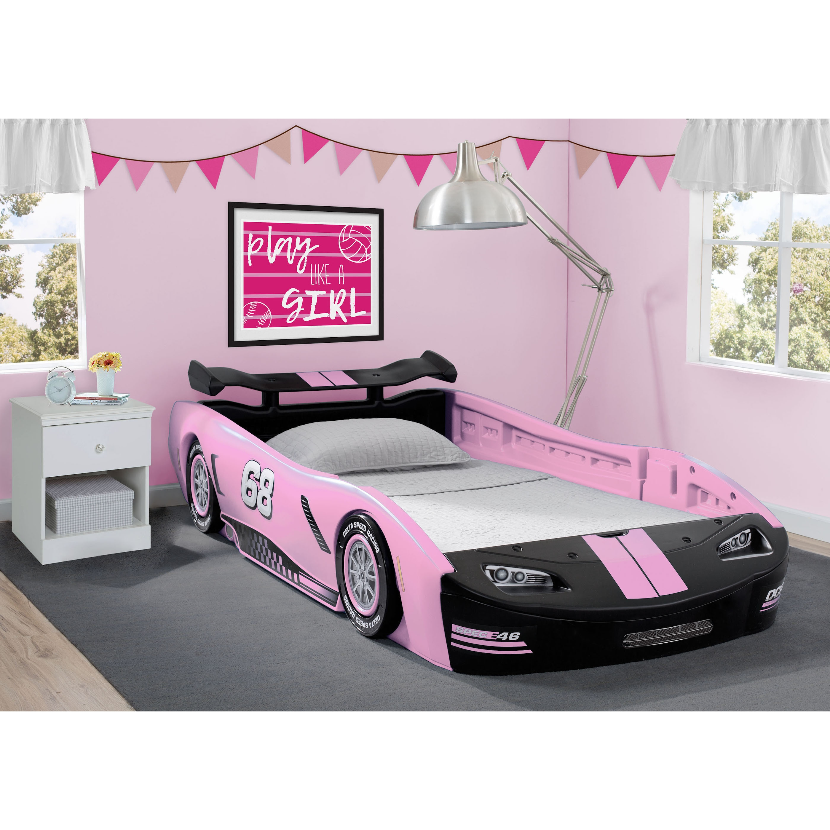 Delta Children Turbo Race Car Twin Bed, Pink (Twin Bed)