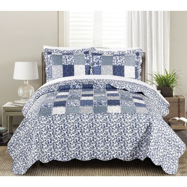 Blissful Living Joyanna Indigo 3 Piece Luxury Ruffle Quilt Set