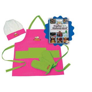 Cooking withCurious Chef Cookbook with 4pc Pink and Green Textile Set Bundle