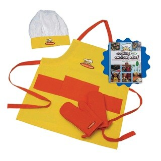 Cooking with Curious Chef Cookbook with 4-piece Textile Set Bundle
