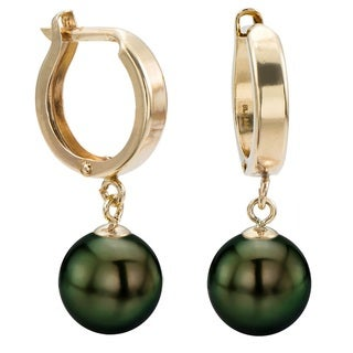 DaVonna 14k Yellow Gold 8-8.5 Hand-picked Round Black Tahitian Cultured High Luster Pearl Dangle Earring