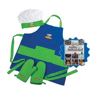 Cooking With Curious Chef Blue/Green 4-piece Cookbook and Chef Set