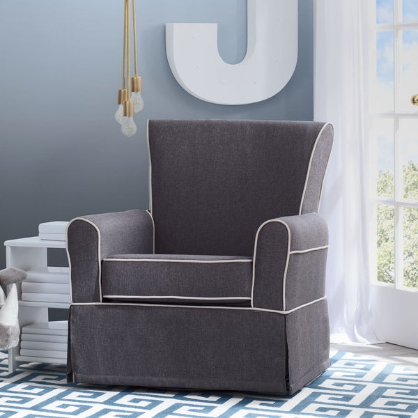 Delta Children Epic Upholstered Glider, Charcoal with Flax Welt