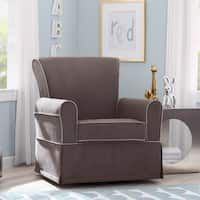 Delta Children Benbridge Nursery Glider Swivel Rocker Chair, Graphite with Dove Grey Welt