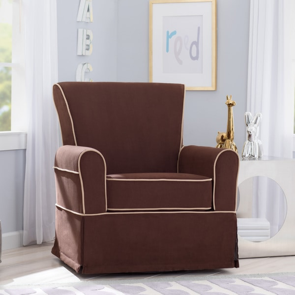 Delta Children Benbridge Nursery Glider Swivel Rocker Chair Cocoa With Beige Welt