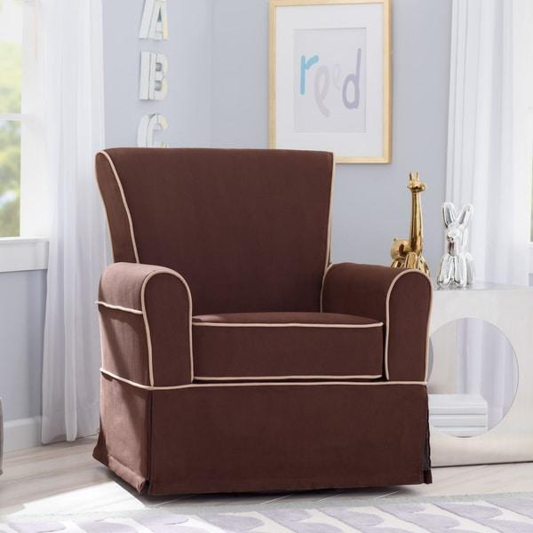 Delta Children Benbridge Nursery Glider Swivel Rocker Chair, Cocoa With  Beige Welt