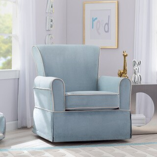 Delta Children Benbridge Nursery Glider Swivel Rocker Chair, Frozen Blue with Cream Welt