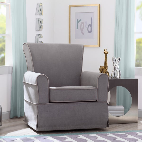 Delta Children Benbridge Nursery Glider Swivel Rocker Chair Dove Grey With Soft Welt