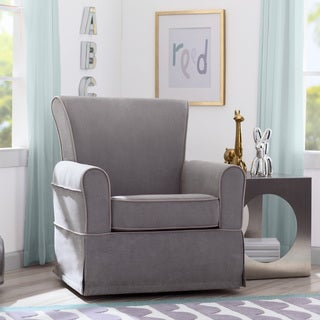 Delta Children Benbridge Nursery Glider Swivel Rocker Chair, Dove Grey with Soft Grey Welt