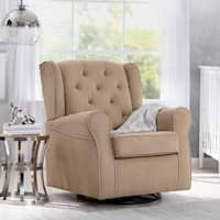 Delta Children Emerson Nursery Glider Swivel Rocker Chair, Beige with Ecru Welt