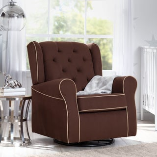 Delta Children Emerson Nursery Glider Swivel Rocker Chair, Cocoa with Beige Welt