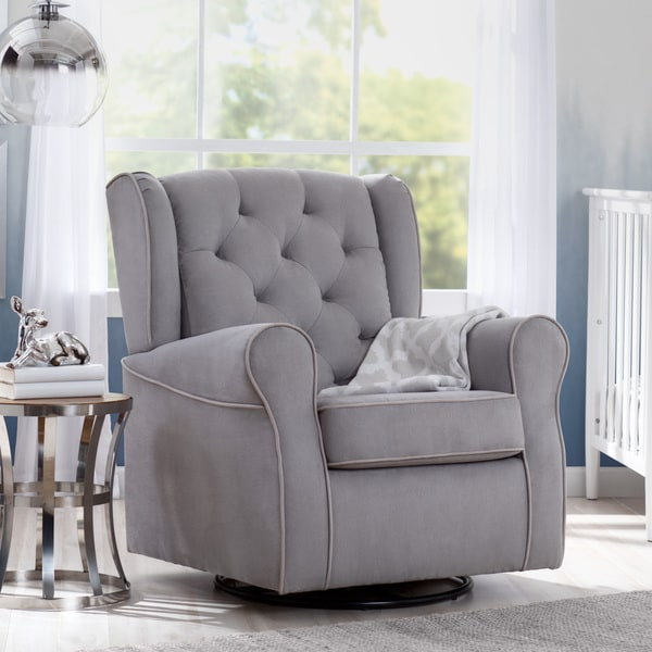 Delta Children Emerson Nursery Glider Swivel Rocker Chair Dove Grey With Soft Welt