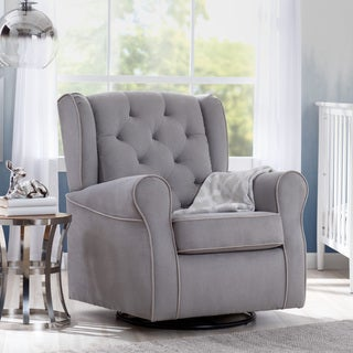 Delta Children Emerson Nursery Glider Swivel Rocker Chair, Dove Grey with Soft Grey Welt