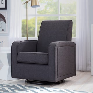 Delta Children Charlotte Nursery Glider Swivel Rocker Chair, Charcoal