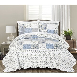 Copper Grove Tithonia Floral 3-piece Luxury Ruffle Quilt Set