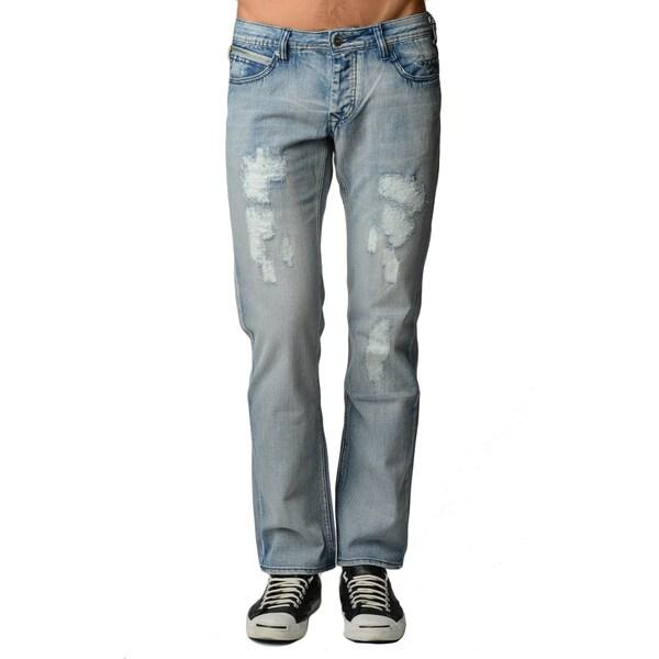 Dinamit Men's Blue Cotton Light Distressed Straight-leg Jeans