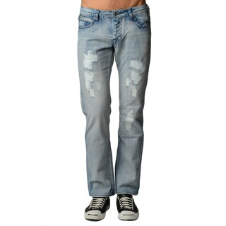 Dinamit Men's Blue Cotton Light Distressed Straight-leg Jeans