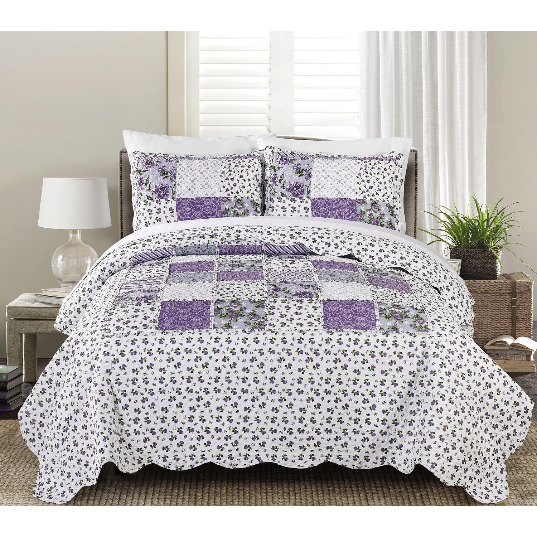 Blissful Living Beatrice Lavender 3-Piece Luxury Ruffle Quilt Set