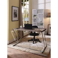 Metal Rectangular Writing Desk With USB Dock , Black & Rose Gold