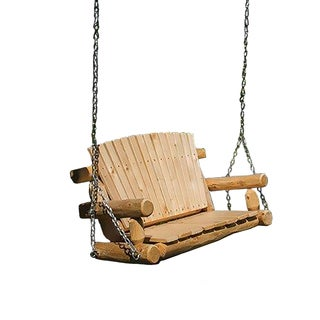 Rustic Outdoor White Cedar Log Child's Swing