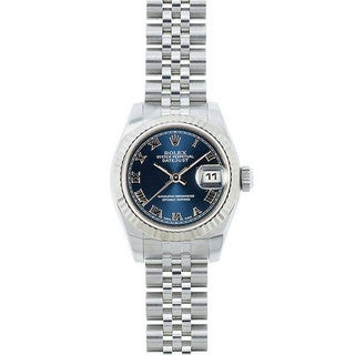 Pre-owned Rolex Mid 2000's Model 179174 Women's Datejust Stainless Steel Blue Dial Watch