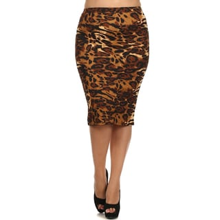 Women's Brown Animal Pattern Knee-length Pencil Skirt