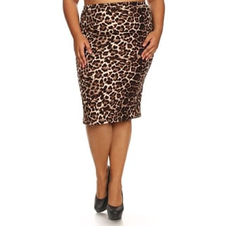 Women's Multicolored Plus-size Animal-pattern Pencil Skirt