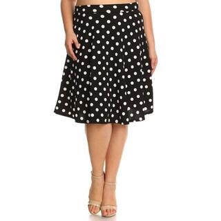 Women's Black/White Polkadot Plus-size Skirt (3 options available)