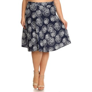 Women's Blue Plus-size Relaxed-fit Floral Skirt