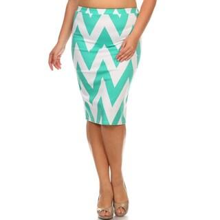Women's White and Mint Chevron Plus-size Pencil Skirt