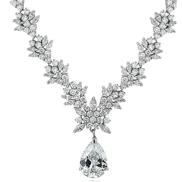 Icz Stonez Sterling Silver Cubic Zirconia Exquisite Wedding Necklace