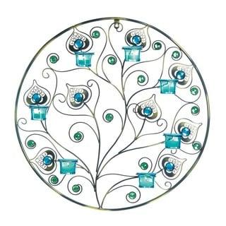 Saphire Jeweled Candle Wall Decor