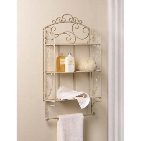 Stella Flourishing 3-Shelves Wall Decor with Towel Bar - Beige