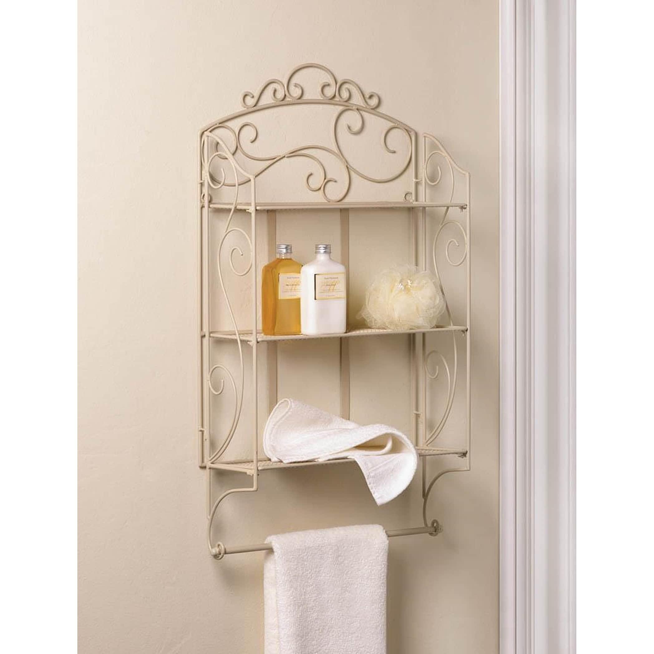 Decorative White Flourish Wall Shelf with Hooks