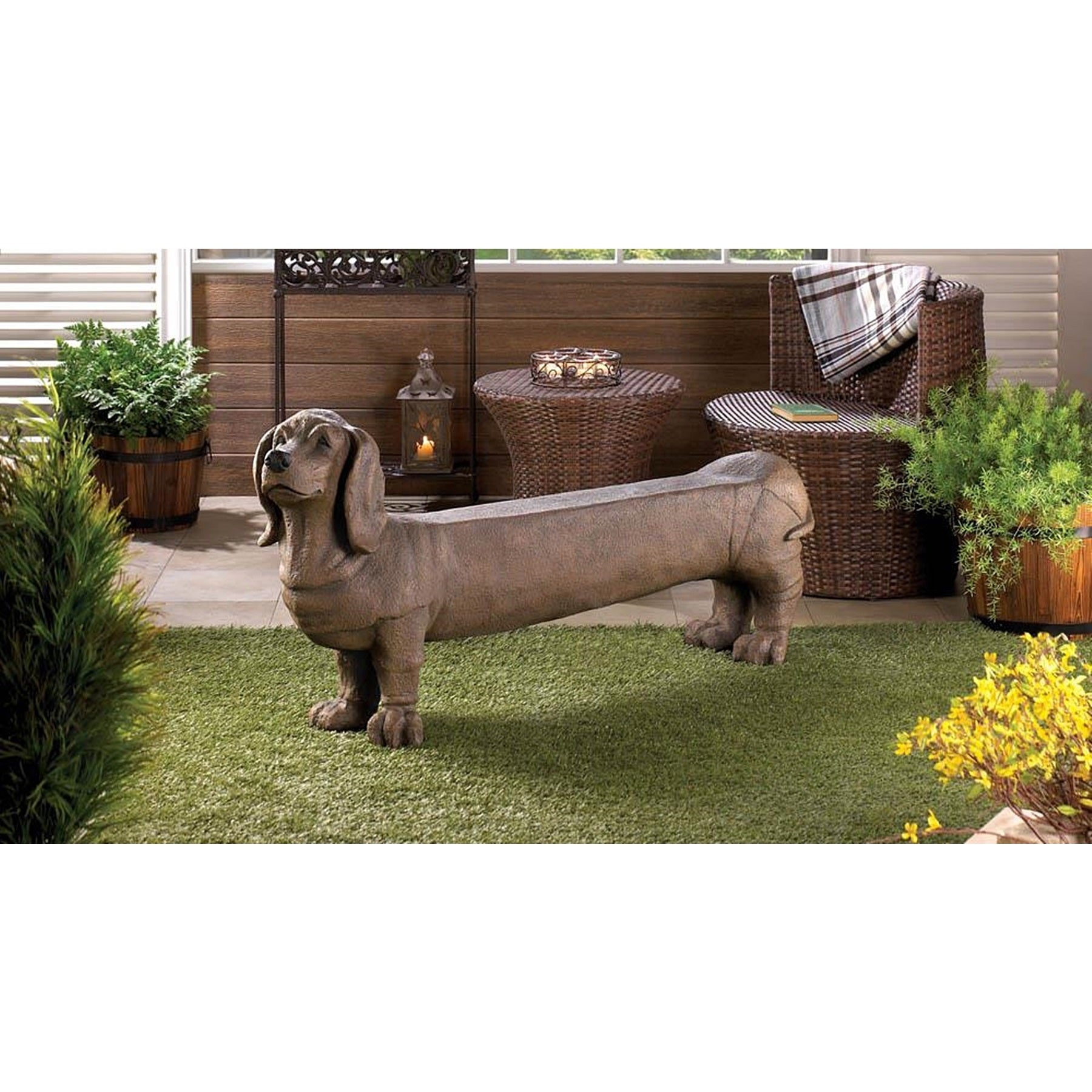 Charming Dog Indoor-Outdoor Bench, Brown, Patio Furniture...