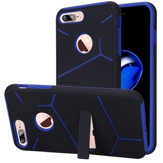 Insten Dark Blue/ Black Hard Snap-on Dual Layer Hybrid Case Cover with Stand For Apple iPhone 7 Plus